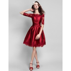 Australia Formal Dresses Cocktail Dress Party Dress Burgundy Plus Sizes Dresses Petite Ball Gown Bateau Short Knee-length Satin